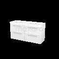Badkamermeubel 140cm Modulo+ Hoogglans Wit 4 Lades Kader Wastafel Mineraalmarmer Maxaro Modulo+ BMP004118