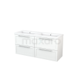 Badkamermeubel 140cm Modulo+ Mat Wit 4 Lades Kader Wastafel Mineraalmarmer Maxaro Modulo+ BMP004141