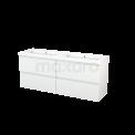 Badkamermeubel 160cm Modulo+ Hoogglans Wit 4 Lades Greeploos Wastafel Mineraalmarmer Maxaro Modulo+ BMP004237
