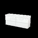 Badkamermeubel 160cm Modulo+ Mat Wit 4 Lades Greeploos Wastafel Mineraalmarmer Maxaro Modulo+ BMP004241