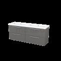 Badkamermeubel 160cm Modulo+ Basalt 4 Lades Vlak Wastafel Mineraalmarmer Maxaro Modulo+ BMP004242