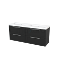Badkamermeubel 160cm Modulo+ Carbon 4 Lades Kader Wastafel Mineraalmarmer Maxaro Modulo+ BMP004248