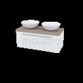 Badkamermeubel voor Waskom 100cm Hoogglans Wit Vlak Modulo Plato Eiken Blad Maxaro Modulo Plato BME000144