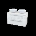 Badkamermeubel voor Waskom 100cm Modulo Plato Hoogglans Wit 2 Lades Vlak Maxaro Modulo Plato BME000813