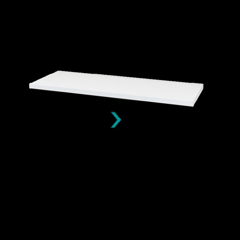 Wastafelblad Modulo Plato 130cm Hoogglans Wit