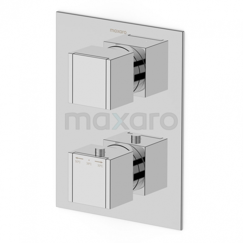 Inbouw Douchekraan Cubic Chrome, Thermostatisch, Chroom