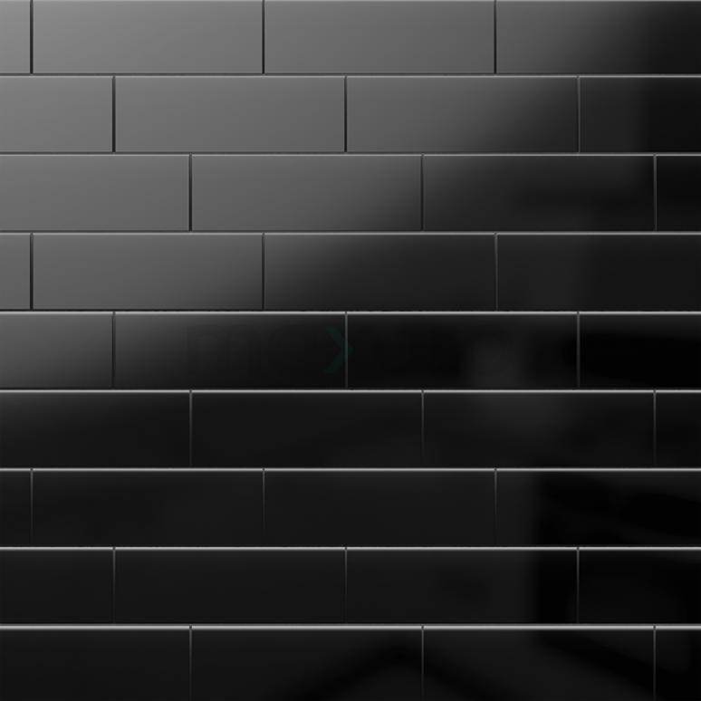 Wandtegel Mono 10x30cm Uni Zwart Glanzend