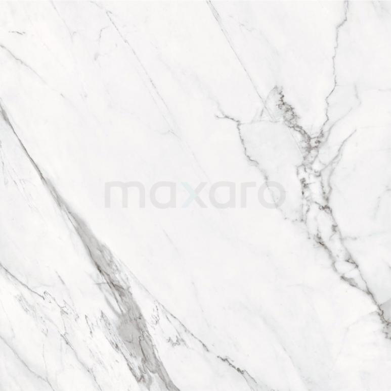 Vloertegel/Wandtegel Lucido Wit Glans 60x60cm Marmerlook Gerectificeerd