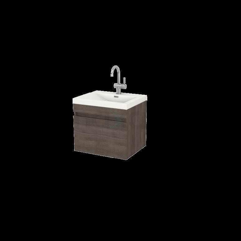 Badkamermeubel 60cm Curve Grijs Eiken 1 Lade Vlak Wastafel Mineraalmarmer