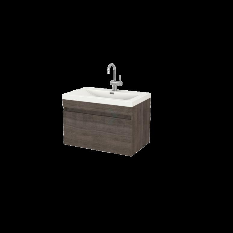 Badkamermeubel 80cm Curve Grijs Eiken 1 Lade Vlak Wastafel Mineraalmarmer