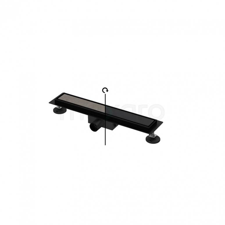 Douchegoot Zwart met Flens 50cm Tile & Plate Black Rooster