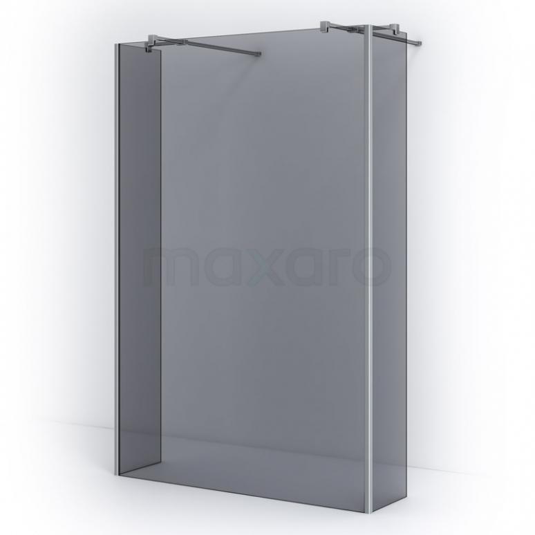 Maxaro Pearl IPG14401C Vrijstaande Inloopdouche met Zijwand 140cm Rookglas Veiligheidsglas 8 mm Chroom look