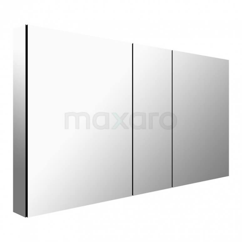 Spiegelkast Mio 125x60cm Aluminium 3 Deuren