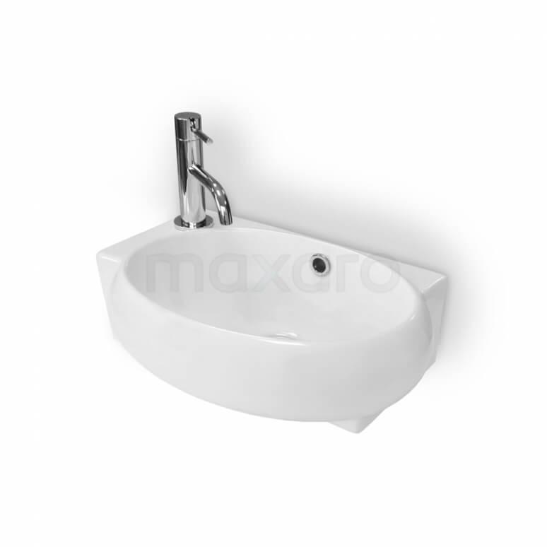 Fonteintje WC Clasico Keramiek Wit Kraangat Links met Overloop