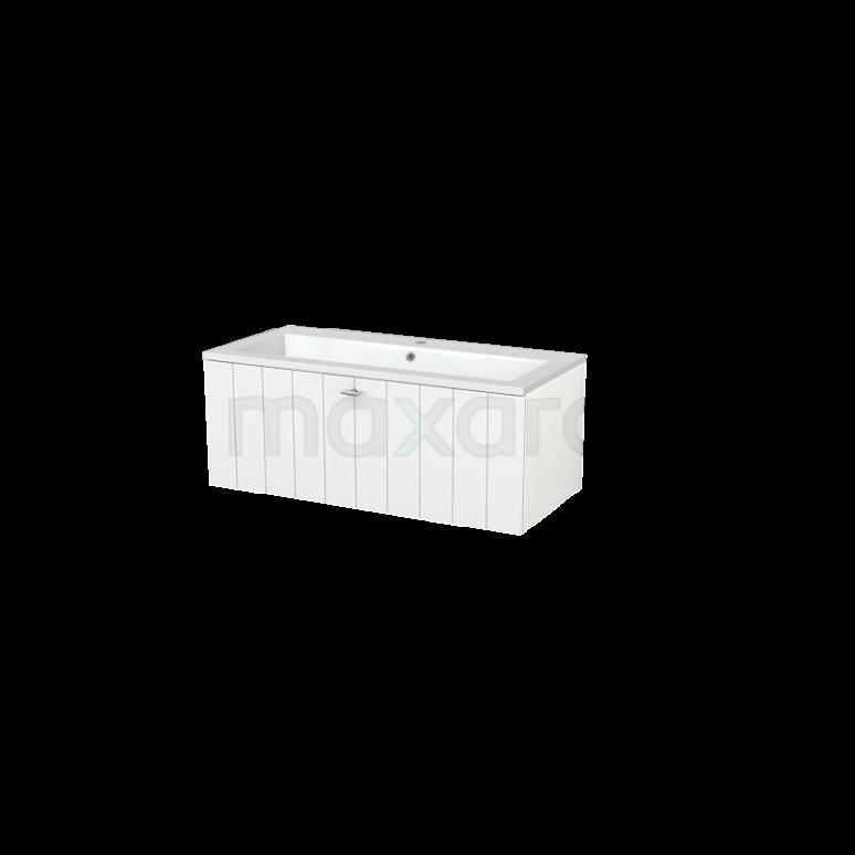 Badkamermeubel 100cm Modulo+ Hoogglans Wit 1 Lade Lamel Wastafel Mineraalmarmer
