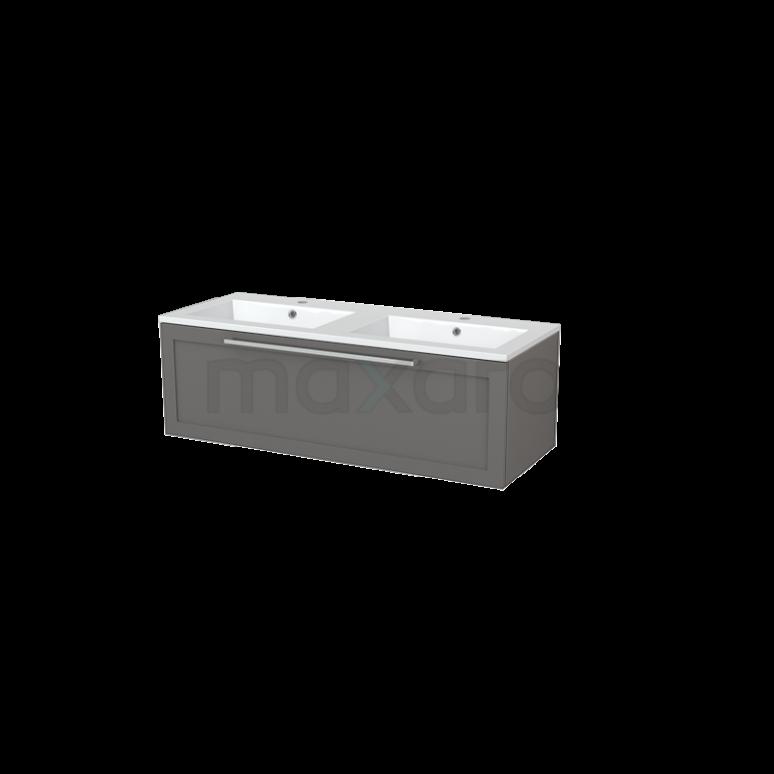 Badkamermeubel 120cm Modulo+ Basalt 1 Lade Kader Wastafel Mineraalmarmer