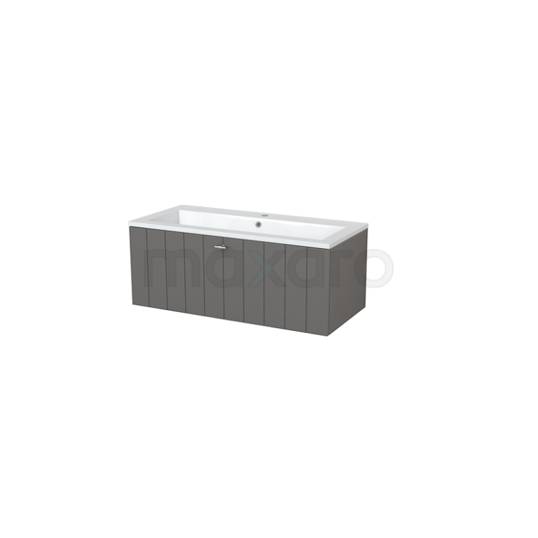 Badkamermeubel 100cm Modulo+ Basalt 1 Lade Lamel Wastafel Mineraalmarmer