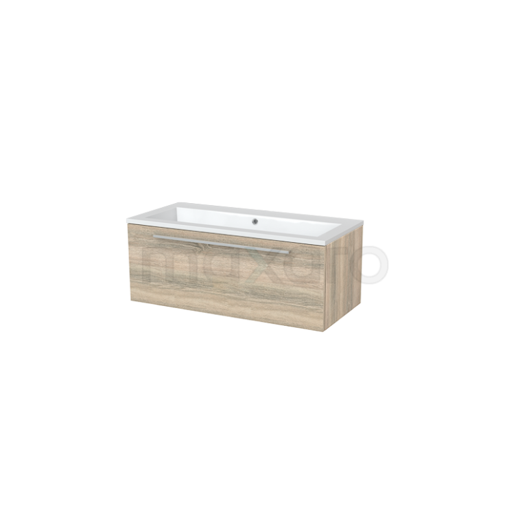 Badkamermeubel 100cm Modulo+ Eiken 1 Lade Vlak Wastafel Mineraalmarmer