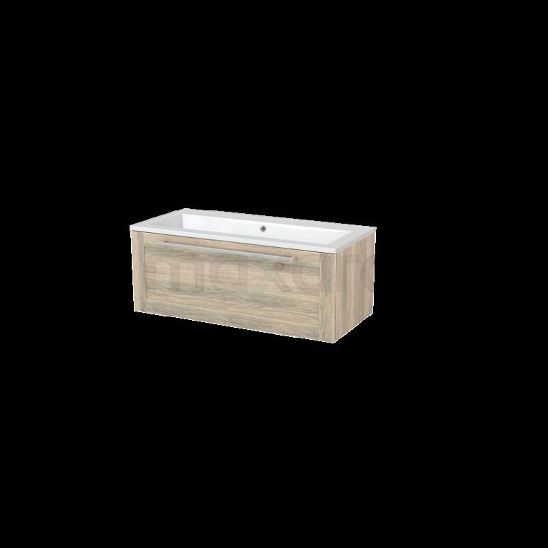 Badkamermeubel 100cm Modulo+ Eiken 1 Lade Kader Wastafel Mineraalmarmer