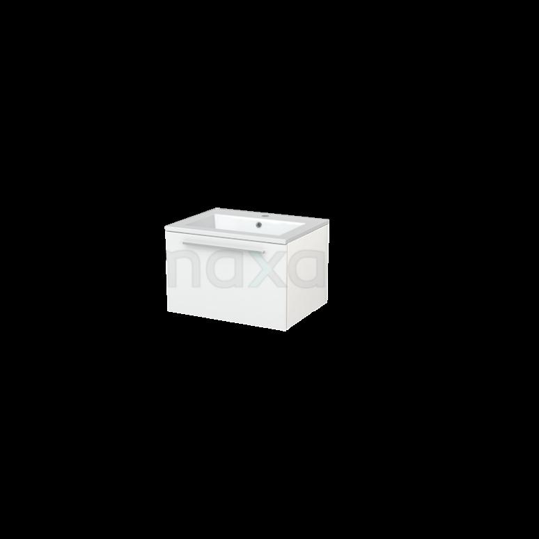 Badkamermeubel 60cm Modulo+ Hoogglans Wit 1 Lade Vlak Wastafel Mineraalmarmer