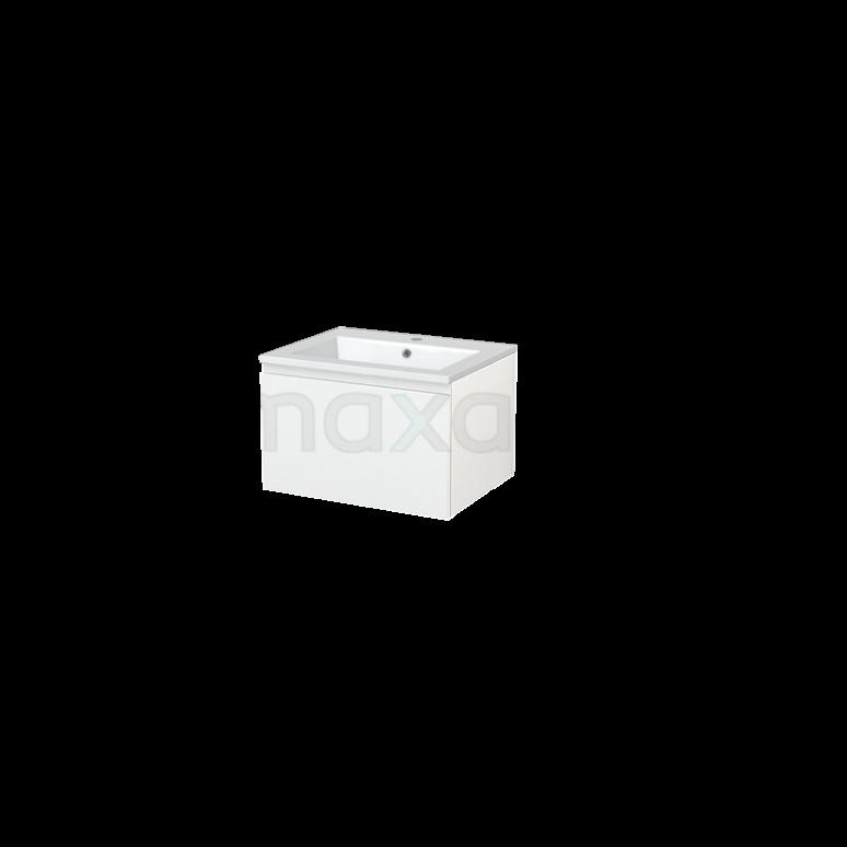 Badkamermeubel 60cm Modulo+ Hoogglans Wit 1 Lade Greeploos Wastafel Mineraalmarmer