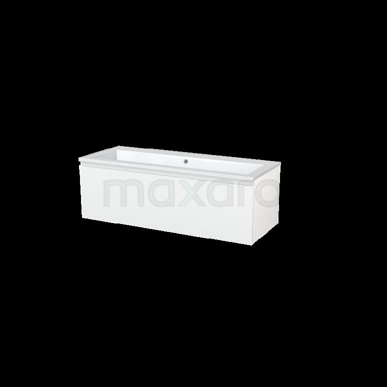 Badkamermeubel 120cm Modulo+ Hoogglans Wit 1 Lade Greeploos Wastafel Mineraalmarmer