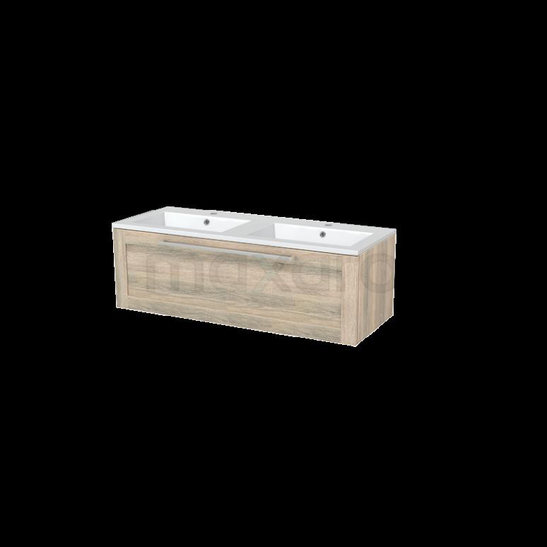 Badkamermeubel 120cm Modulo+ Eiken 1 Lade Kader Wastafel Mineraalmarmer