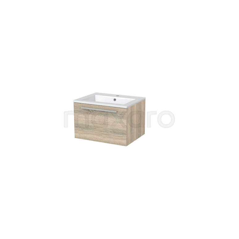 Badkamermeubel 60cm Modulo+ Eiken 1 Lade Vlak Wastafel Mineraalmarmer