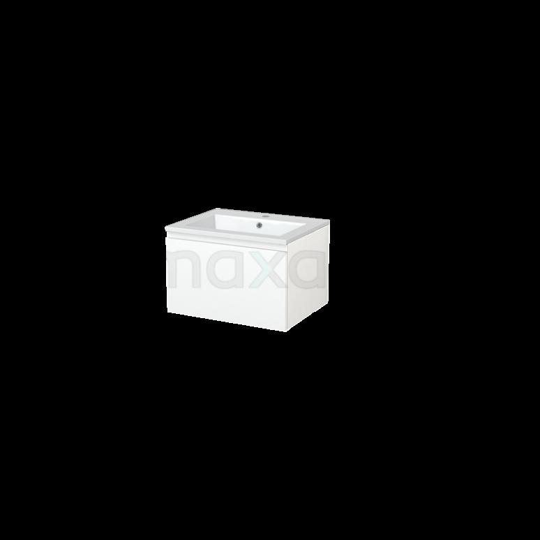 Badkamermeubel 60cm Modulo+ Mat Wit 1 Lade Greeploos Wastafel Mineraalmarmer