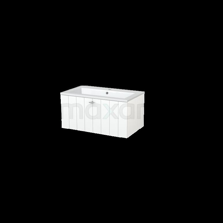 Badkamermeubel 80cm Modulo+ Mat Wit 1 Lade Lamel Wastafel Mineraalmarmer