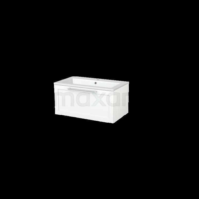 Badkamermeubel 80cm Modulo+ Mat Wit 1 Lade Kader Wastafel Mineraalmarmer