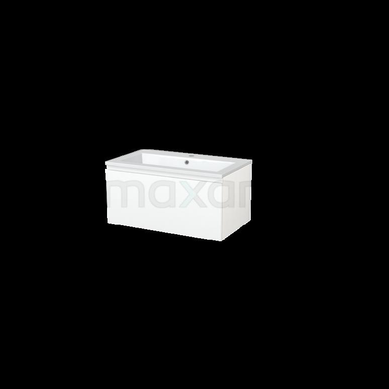 Badkamermeubel 80cm Modulo+ Mat Wit 1 Lade Greeploos Wastafel Mineraalmarmer