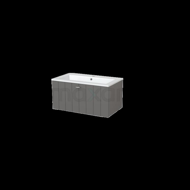 Badkamermeubel 80cm Modulo+ Basalt 1 Lade Lamel Wastafel Mineraalmarmer