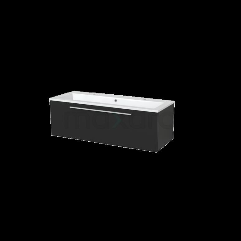 Badkamermeubel 120cm Modulo+ Carbon 1 Lade Vlak Wastafel Mineraalmarmer