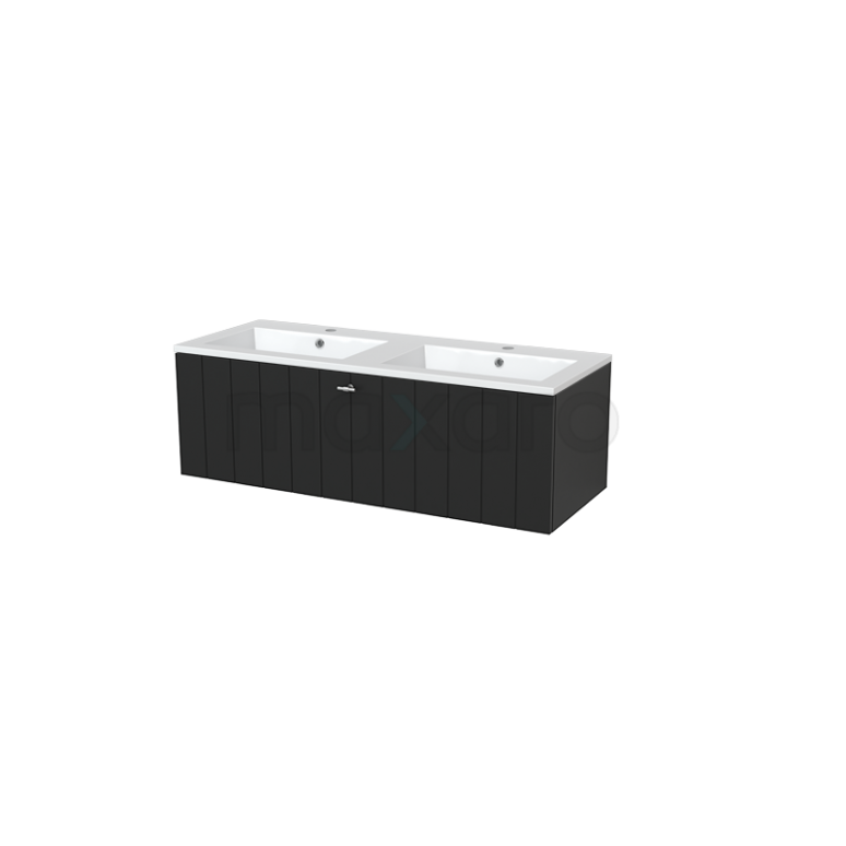 Badkamermeubel 120cm Modulo+ Carbon 1 Lade Lamel Wastafel Mineraalmarmer