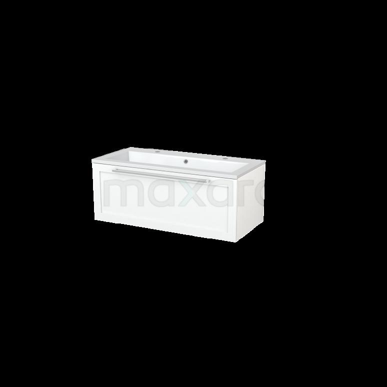 Badkamermeubel 100cm Modulo+ Mat Wit 1 Lade Kader Wastafel Mineraalmarmer