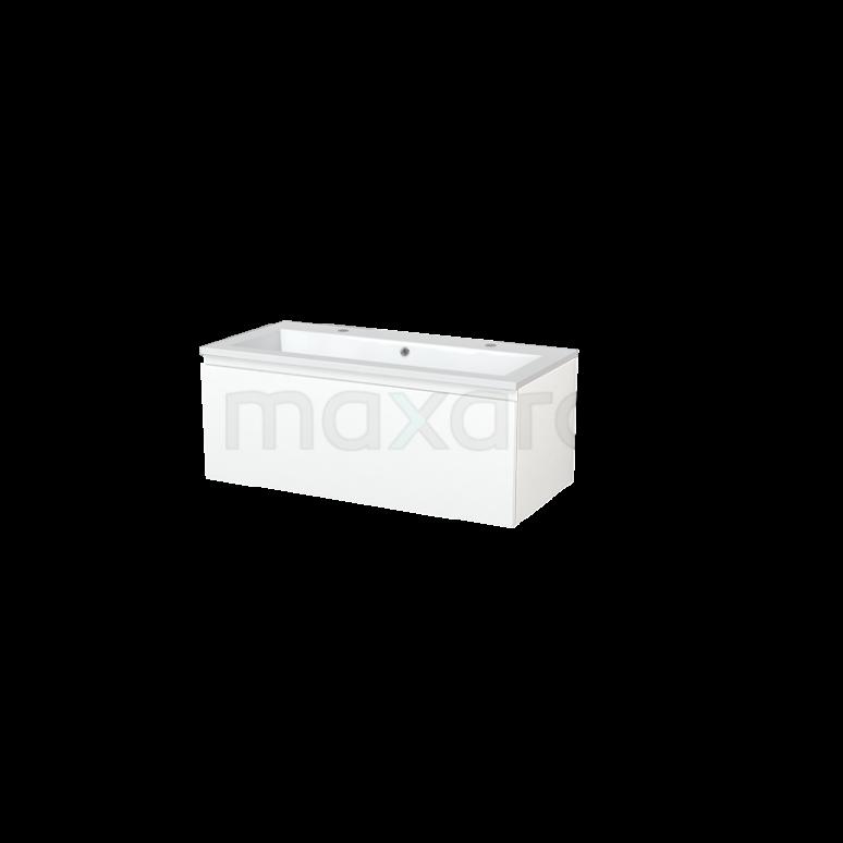 Badkamermeubel 100cm Modulo+ Mat Wit 1 Lade Greeploos Wastafel Mineraalmarmer