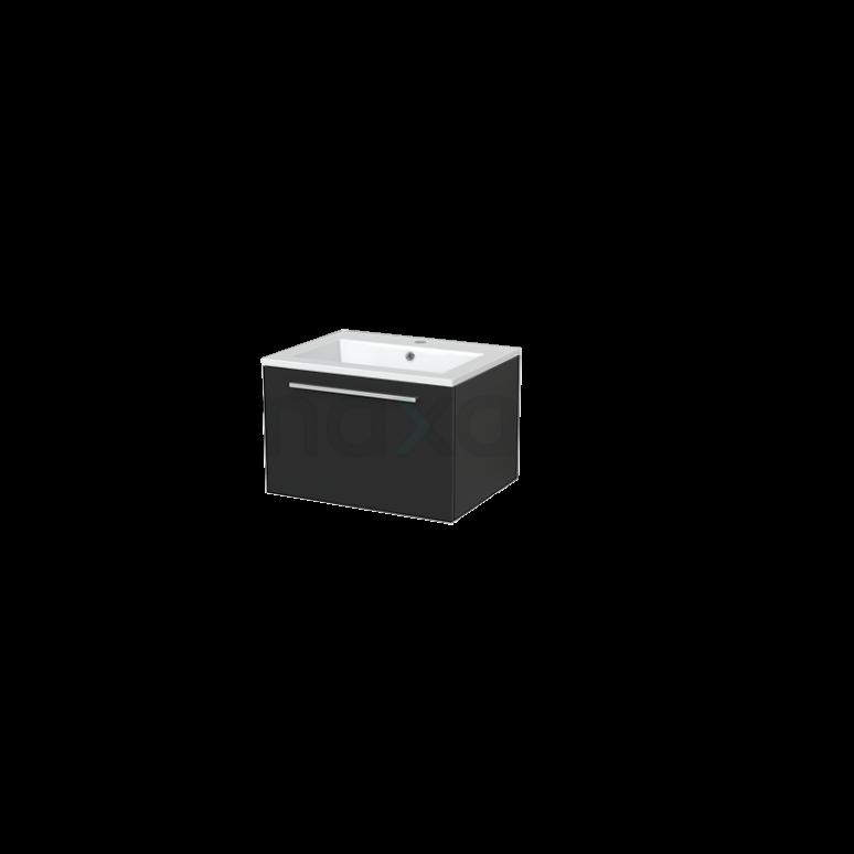 Badkamermeubel 60cm Modulo+ Carbon 1 Lade Vlak Wastafel Mineraalmarmer