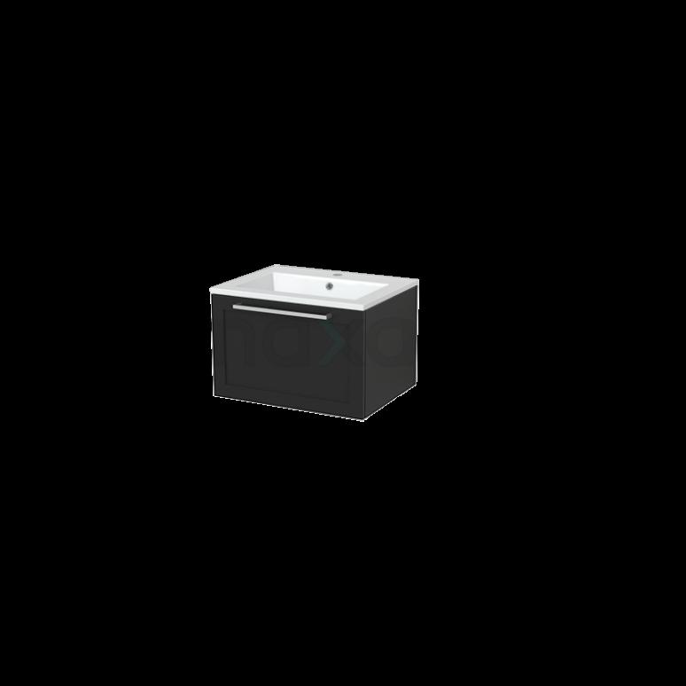 Badkamermeubel 60cm Modulo+ Carbon 1 Lade Kader Wastafel Mineraalmarmer