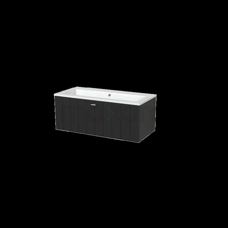 Badkamermeubel 100cm Modulo+ Carbon 1 Lade Lamel Wastafel Mineraalmarmer