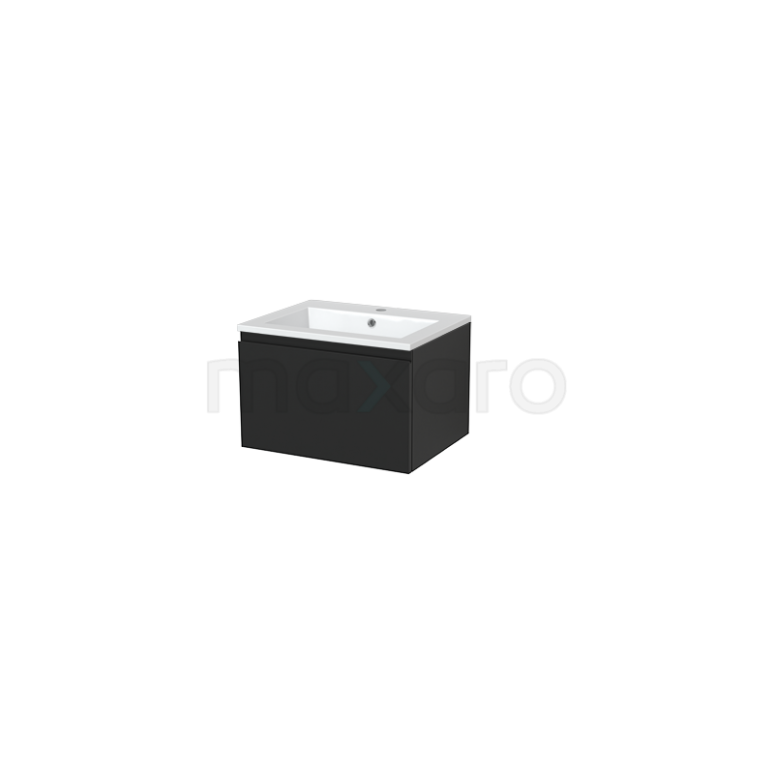 Badkamermeubel 60cm Modulo+ Carbon 1 Lade Greeploos Wastafel Mineraalmarmer