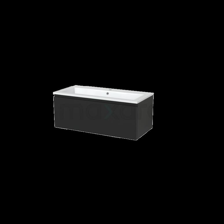 Badkamermeubel 100cm Modulo+ Carbon 1 Lade Greeploos Wastafel Mineraalmarmer