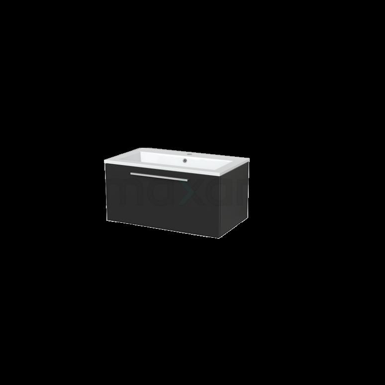Badkamermeubel 80cm Modulo+ Carbon 1 Lade Vlak Wastafel Mineraalmarmer