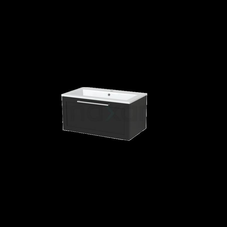 Badkamermeubel 80cm Modulo+ Carbon 1 Lade Kader Wastafel Mineraalmarmer