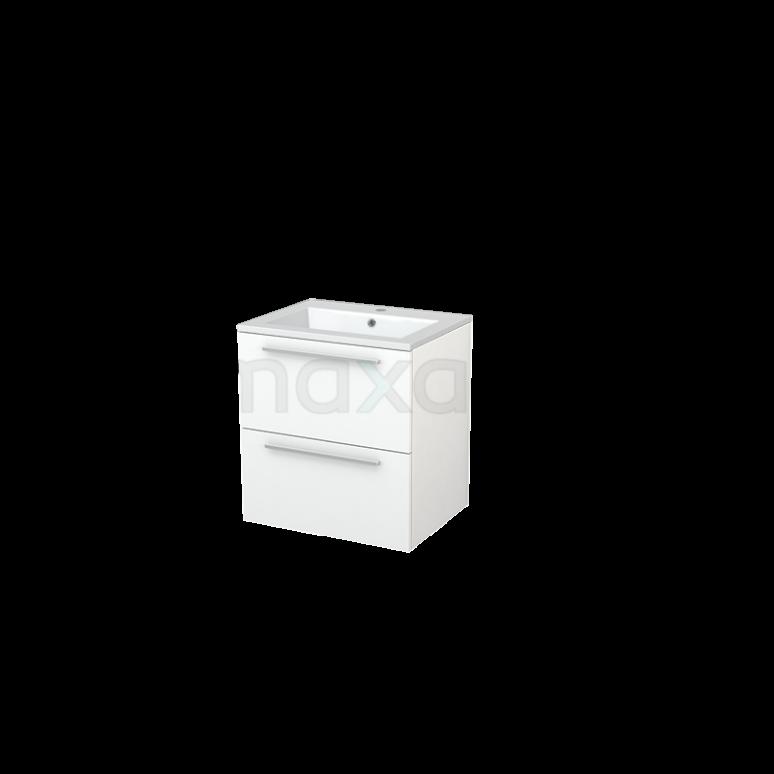 Badkamermeubel 60cm Modulo+ Mat Wit 2 Lades Vlak Wastafel Mineraalmarmer