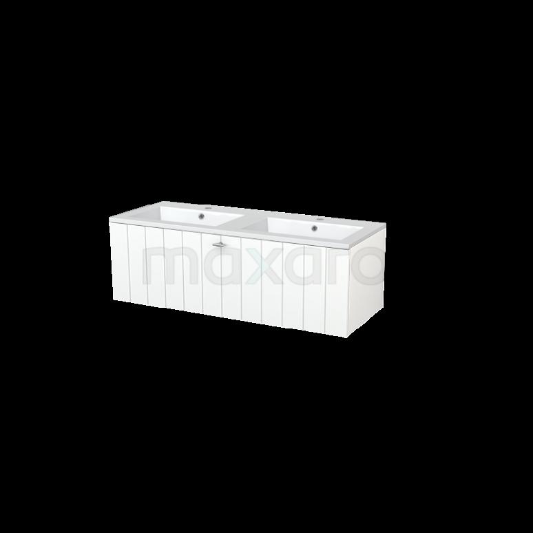 Badkamermeubel 120cm Modulo+ Mat Wit 2 Lades Lamel Wastafel Mineraalmarmer