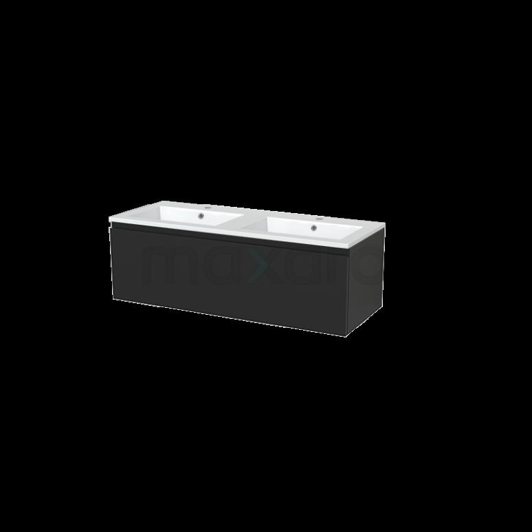 Badkamermeubel 120cm Modulo+ Carbon 2 Lades Greeploos Wastafel Mineraalmarmer