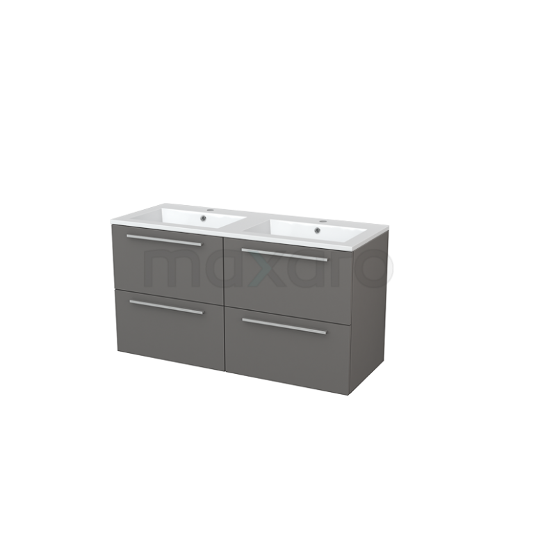 Badkamermeubel 120cm Modulo+ Basalt 4 Lades Vlak Wastafel Mineraalmarmer
