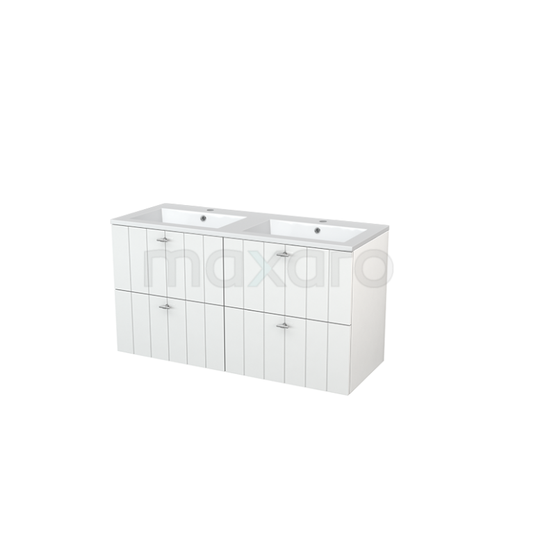 Badkamermeubel 120cm Modulo+ Hoogglans Wit 4 Lades Lamel Wastafel Mineraalmarmer