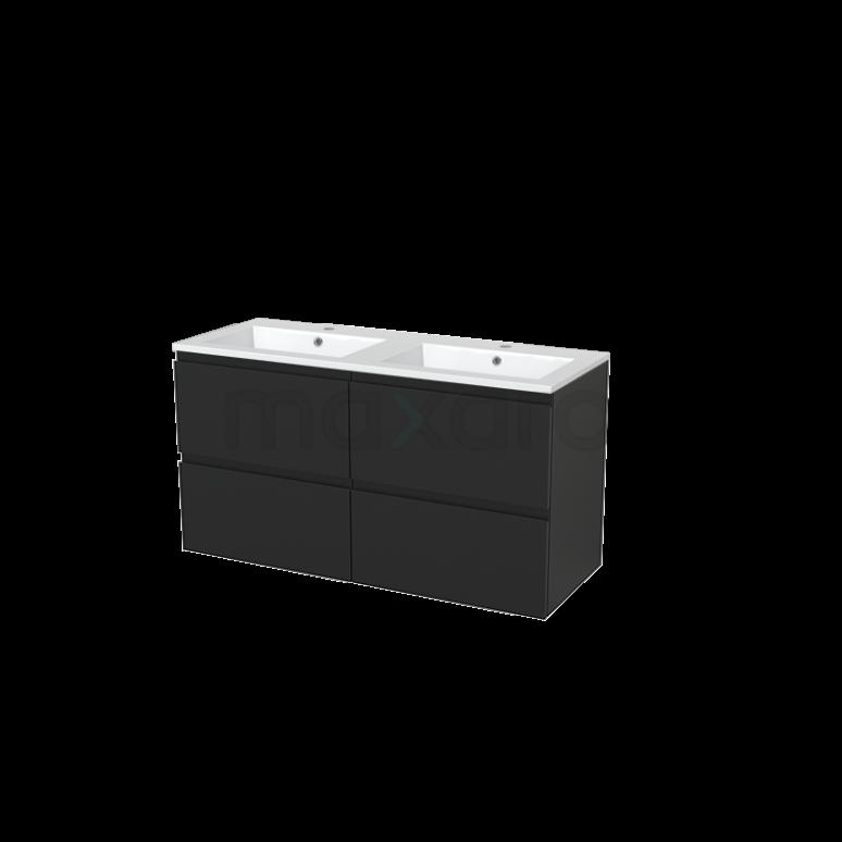 Badkamermeubel 120cm Modulo+ Carbon 4 Lades Greeploos Wastafel Mineraalmarmer